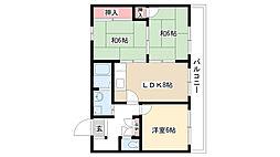 ヴィラ奥田第2ビル[3-B号室]の間取り