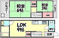 [テラスハウス] 大阪府高石市綾園7丁目 の賃貸【/】の間取り