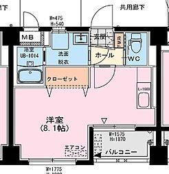 アールM1ビル 2階ワンルームの間取り