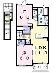 宮崎県宮崎市島之内の賃貸アパートの間取り