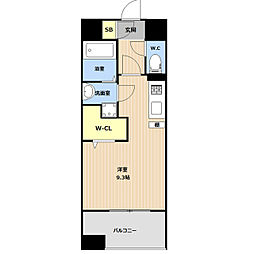 JR鹿児島本線 吉塚駅 徒歩5分の賃貸マンション 9階ワンルームの間取り