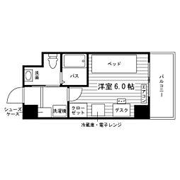 仙台市地下鉄東西線 宮城野通駅 徒歩5分の賃貸マンション 3階ワンルームの間取り