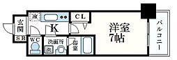 阪急神戸本線 春日野道駅 徒歩4分の賃貸マンション 1階1Kの間取り