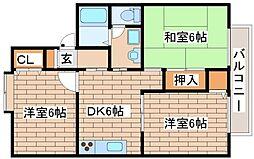 兵庫県神戸市西区竜が岡5丁目の賃貸アパートの間取り