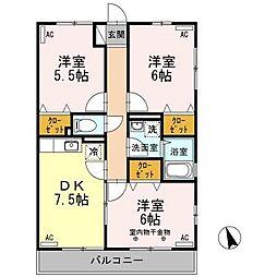 西武多摩川線 白糸台駅 徒歩6分の賃貸アパート 2階3DKの間取り