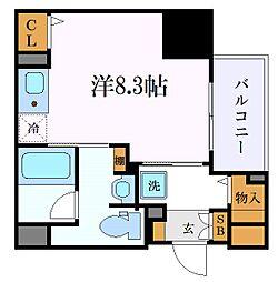 名古屋市営東山線 新栄町駅 徒歩8分の賃貸マンション 10階ワンルームの間取り