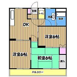 武蔵村山ウエストハイツ[2階]の間取り