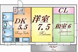 兵庫県神戸市北区鈴蘭台東町5の賃貸マンションの間取り
