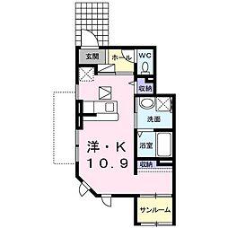大阪府堺市中区大野芝町の賃貸アパートの間取り