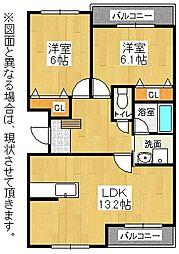 福岡県北九州市八幡西区上の原3丁目の賃貸マンションの間取り