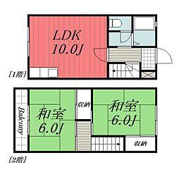 ドミール・SAKAGAMI 1階2LDKの間取り