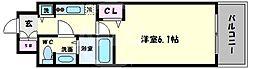 アクアプレイス天王寺II 11階1Kの間取り