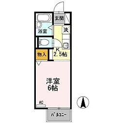 愛知県名古屋市北区東味鋺1丁目の賃貸アパートの間取り