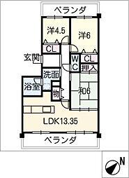 サンマンションアーツ山の手五番館102号[1階]の間取り