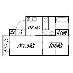 静岡県浜松市中区曳馬1丁目の賃貸アパートの間取り