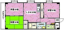 広島県広島市安佐南区中須1丁目の賃貸マンションの間取り