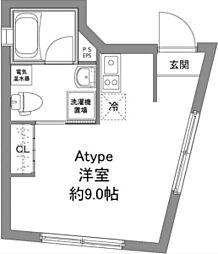京王線 上北沢駅 徒歩6分の賃貸マンション 2階ワンルームの間取り