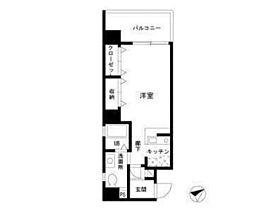 東急東横線 中目黒駅 徒歩2分の賃貸マンション 10階1Kの間取り