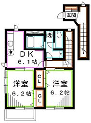 JR中央本線 三鷹駅 バス12分 新川宿下車 徒歩2分の賃貸アパート 2階2DKの間取り