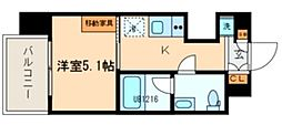 西武新宿線 久米川駅 徒歩1分の賃貸マンション 8階1Kの間取り