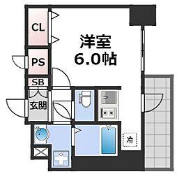 スプランディッド難波元町DUE 14階1Kの間取り