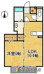 ハッピーライト K棟 2階1LDKの間取り