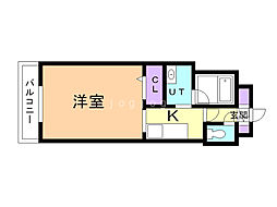 Glanz Osamura 4階1Kの間取り
