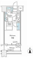 東急東横線 武蔵小杉駅 徒歩3分の賃貸マンション 7階1Kの間取り