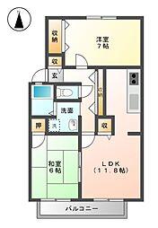 セジュールKONO A棟[2階]の間取り