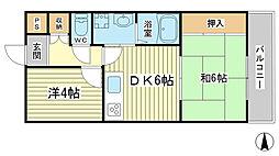 兵庫県姫路市飾磨区上野田5丁目の賃貸マンションの間取り
