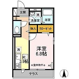 伊豆箱根鉄道大雄山線 小田原駅 徒歩15分の賃貸アパート 1階1Kの間取り