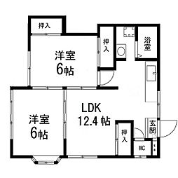 第2柏木ハウス 1階2LDKの間取り