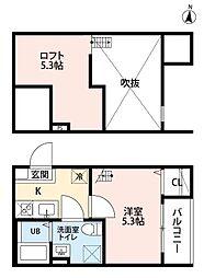 愛知県名古屋市北区長喜町1丁目の賃貸アパートの間取り