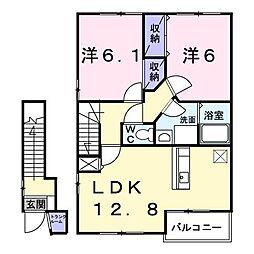 長野県上田市大屋の賃貸アパートの間取り