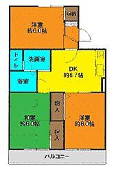 神奈川県茅ヶ崎市赤羽根の賃貸アパートの間取り
