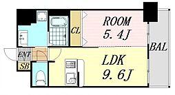 ディームス江坂 8階1LDKの間取り