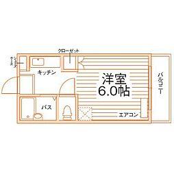 スリム片江[1階]の間取り