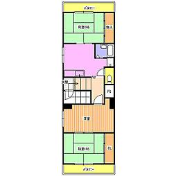阪急千里線 関大前駅 徒歩5分の賃貸マンション 3階3DKの間取り