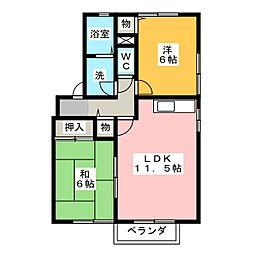 セジュール若松Ⅱ[2階]の間取り