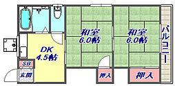 住吉山手中井ハイツ[201号室]の間取り