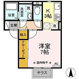 小田急小田原線 海老名駅 徒歩13分の賃貸アパート 1階1Kの間取り
