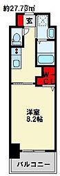 JR日豊本線 南小倉駅 徒歩24分の賃貸マンション 6階1Kの間取り
