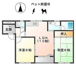 愛知県一宮市大和町氏永字先角の賃貸アパートの間取り