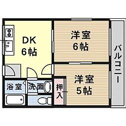 大阪府高槻市辻子3丁目の賃貸マンションの間取り