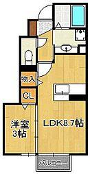 テロワール五番館 1階1LDKの間取り