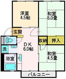 埼玉県富士見市渡戸1丁目の賃貸アパートの間取り