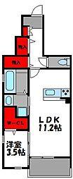 JR鹿児島本線 香椎駅 徒歩10分の賃貸アパート 1階1LDKの間取り