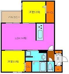 東大阪市シャーメゾン岩田町5丁目 1階2LDKの間取り