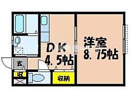 JR宇野線 茶屋町駅 徒歩27分の賃貸アパート 1階1DKの間取り