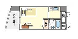 家具付きピュアドーム博多レビューシンプルプラン[4階]の間取り